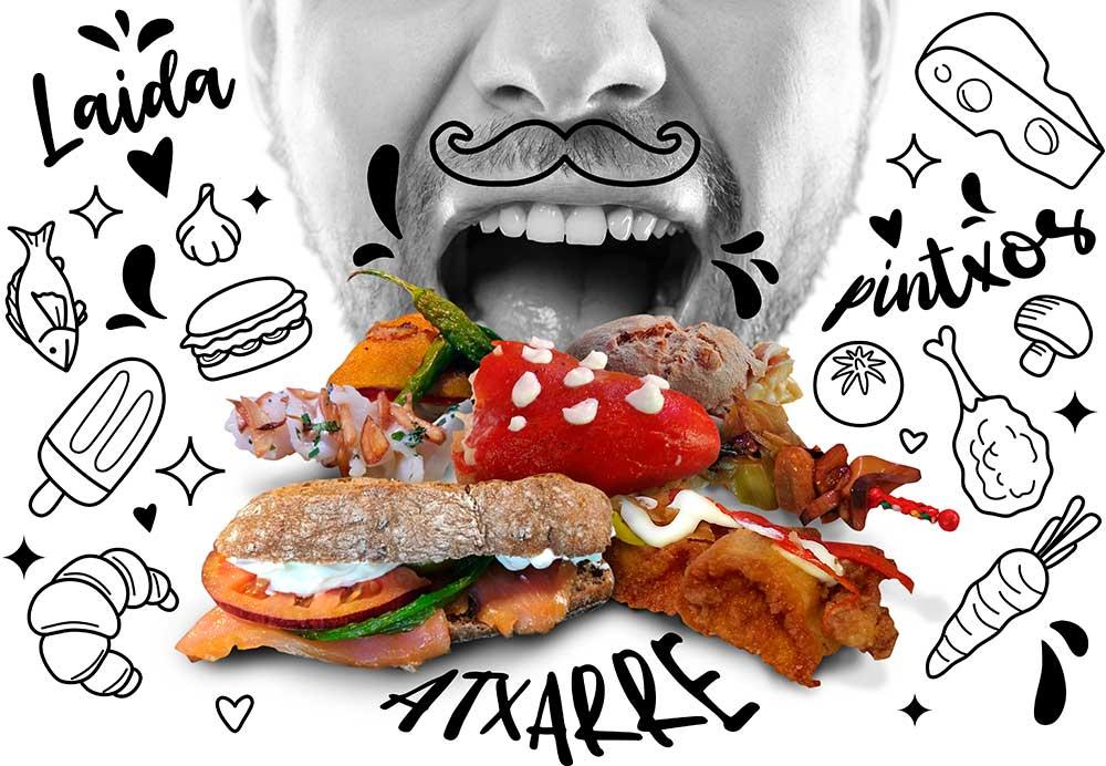 Bar Cafetería Atxarre - Bodegón de pintxos y boca devorando